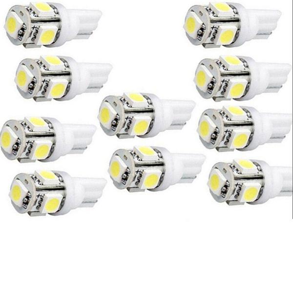 50Pcs Super Bright T10 5050 5-SMD LED Interior Light Bulbs 5050 W5W 194 168 2825