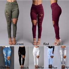 New Women Red Demin Jeans Pencil Pants Silm Hollow Out Casual Style Sexy Women
