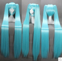 120cm Long Vocaloid-hatsune Miku Green Anime Cosplay Wig+2 Clip on Ponytail