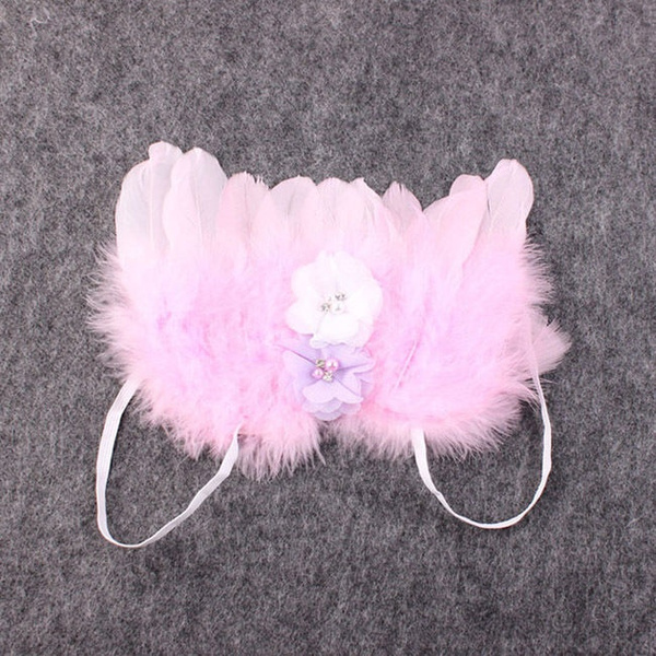 Newborn Baby Girl White Feather Angel Wing +Rhinestone Headband Photography Prop