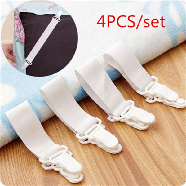 4 Pc/Lot White Bed Sheet Mattress Cover Blankets Grippers Straps Suspenders Clip Holder Elastic Fasteners