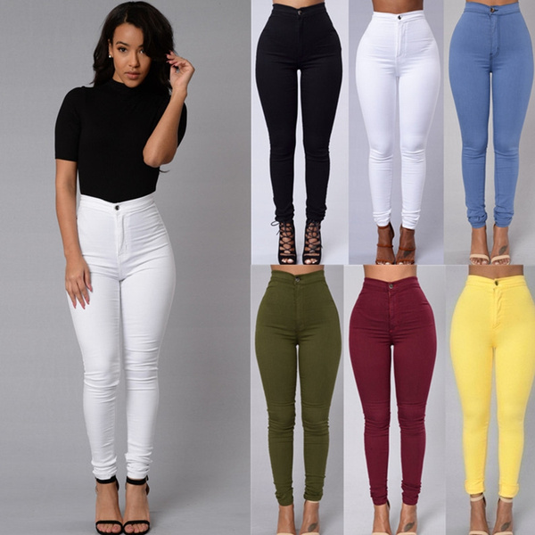 6 Colors Womens Casual Jeans Vintage Green Denim Pants