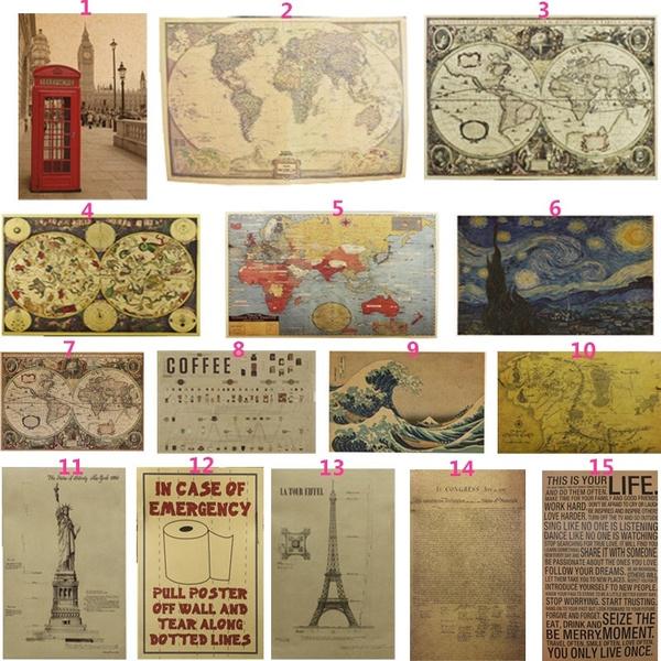Antique, Map, Decor, Fashion wall sticker