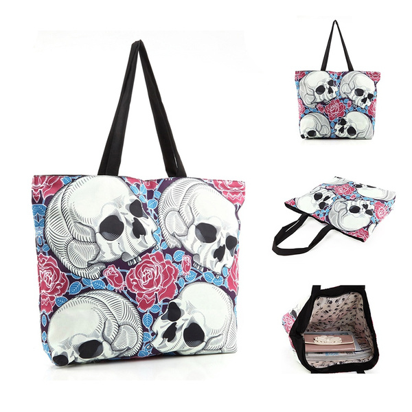 Picture of Women's Large Capacity Skull Handbag Shopping Bag Tote Shoulder Bags