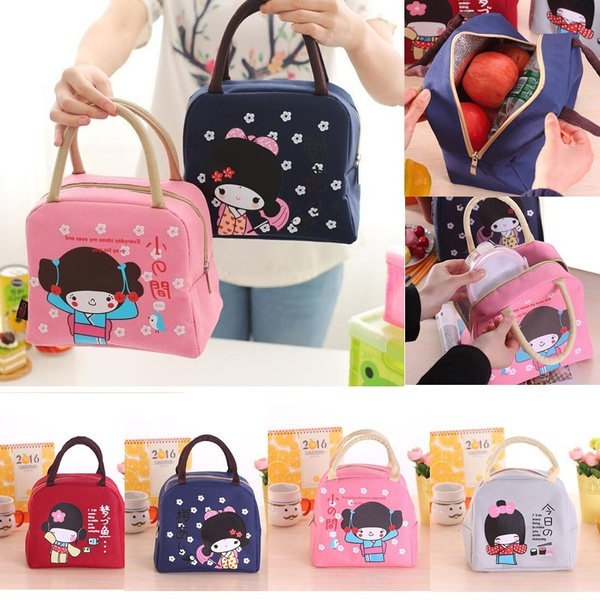 Picture of Portable Thermal Insulation Lunch Box Cute Cartoons Bento Bag Canvas Travel Bag