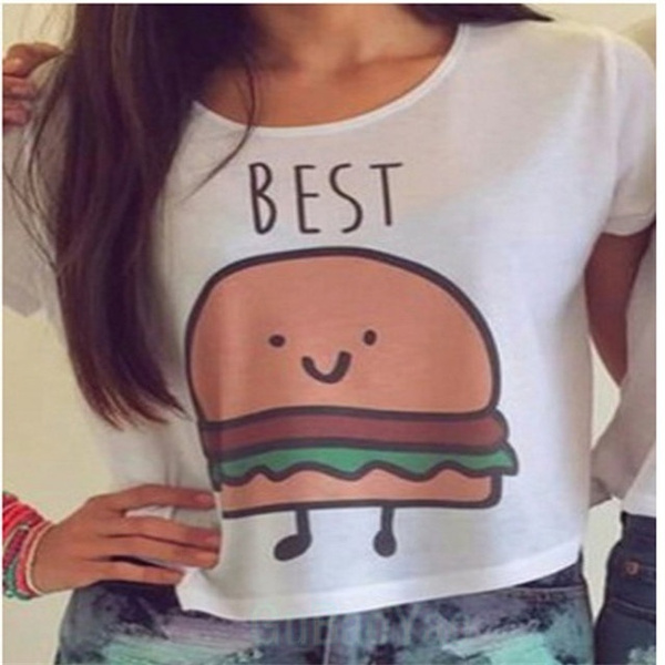 1PC New Casual Crop Tops Women Summer Round Neck Best Friends Print T Shirts Fashion Short Sleeve Printed Shirt