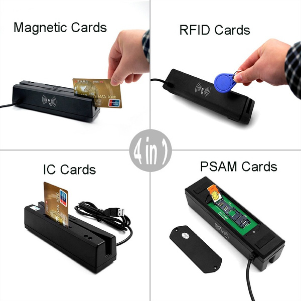 ZCS160 4-IN-1 USB Magnetic Stripe Card Reader+EMV IC Chip Card/RFID  NFC/PSAM Card Reader Writer All 3 Tracks Credit Card Encoder + Free Software