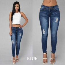 New Fashion Women Casual Long Pants Sexy Pencil Long Jeans Pants Summer Trousers