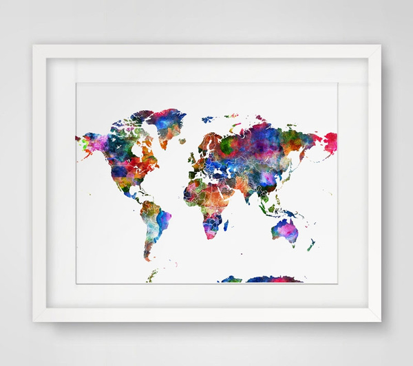 Wish world map art print watercolor wall hanging world map wish world map art print watercolor wall hanging world map watercolor handmade world map art paper poster watercolor world map wall decor without frame gumiabroncs Image collections