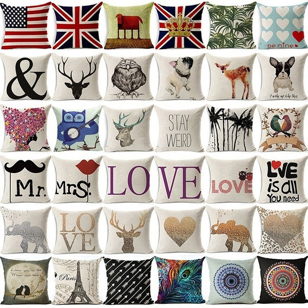 Picture of 18 Inch Cute Animal Cotton Linen Square Pillow Cases Sofa Car Throw Pillow Cushion Cover