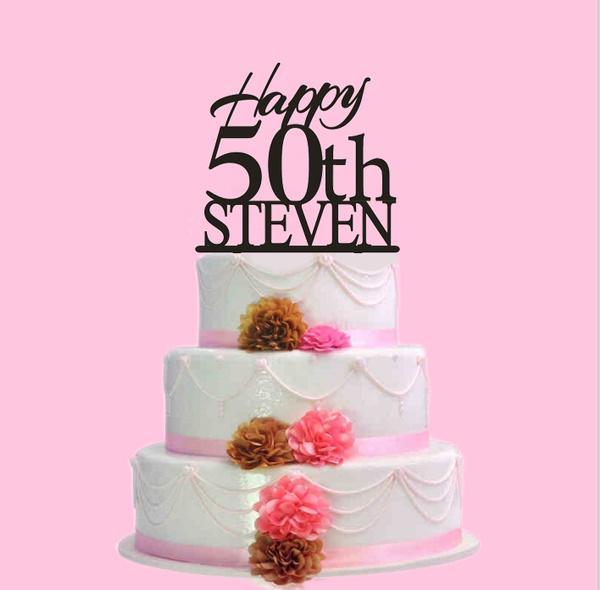Sensational Happy 50Th Birthday Cake Topper Custom Name Cake Topper For Personalised Birthday Cards Veneteletsinfo