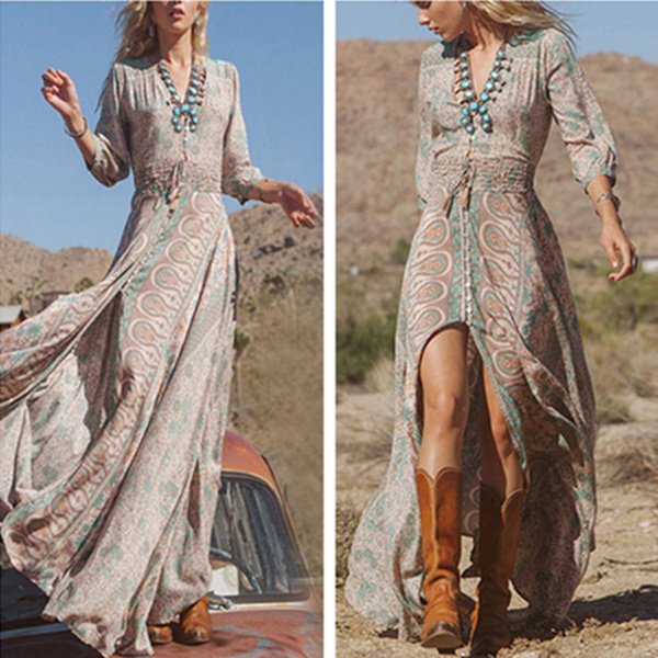 Picture of Women Sexy Boho Summer Casual Chiffon Floral Evening Party Beach Long Maxi Dress