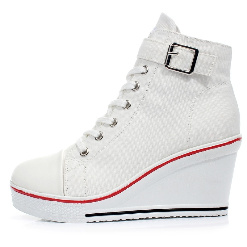 Picture of Women Casual Shoes High Heel Platform Women Wedge Shoes Zapatillas Mujer Thick Soled Female Canvas Shoes