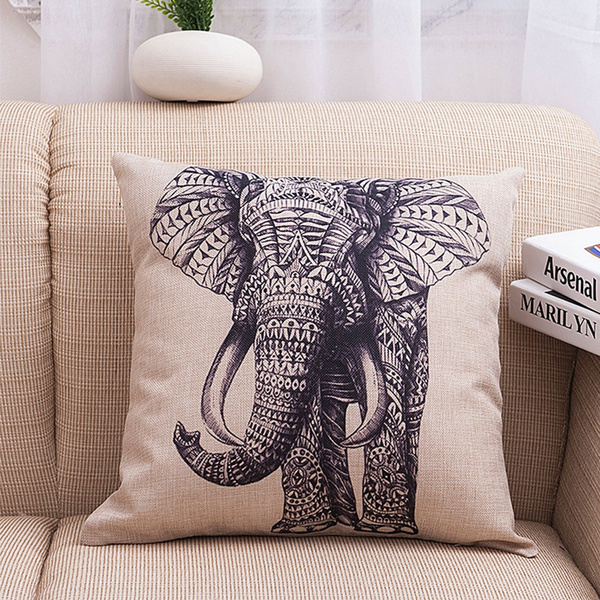 Picture of Elephant Vintage Pillow Case Decorative Throw Pillowcase Cushion Cover Bed Decor