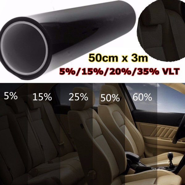 20 Percent Tint >> Roll 50cm X 3m 5 15 20 35 Percent Vlt Window Tint Tinting Glass Sticker Decal Sunshade Film For Car Residential Commercial Color Black