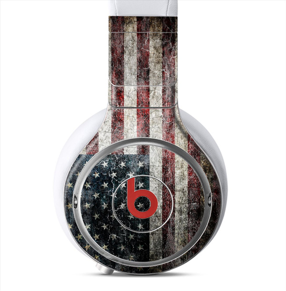 The Dark Grungy Textured American Flag Full-Body Wrap Skin Kit for the  Beats By Dre Pro, Solo, Solo 2, Solo 2 Wireless, Studio and MIXR Headphones