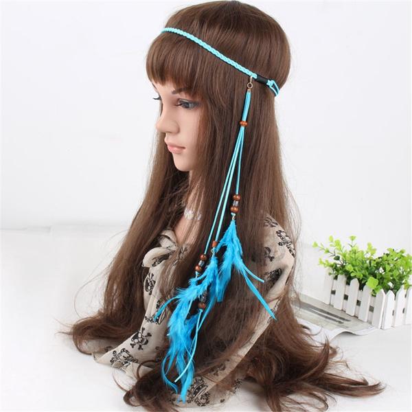 b6dea888f79d1 Fashion Weave Bohemian Headband Native American Braided Headband Indian  Headband Hair Accessories Feather Headband