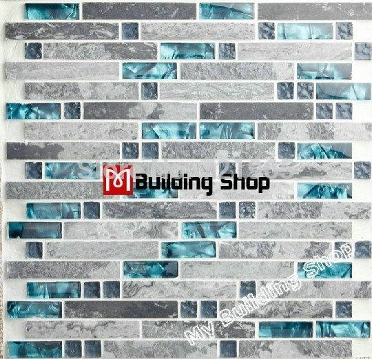Wish | Blue Glass Mosaic Glass Wall Tile Backsplash Kitchen Tile SGMT026  Grey Stone Mosaic Bathroom Tiles Glass Stone Mosaic Tiles@LXQ