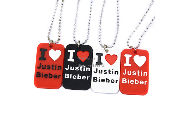 Wish 1 Pc I Love Justin Bieber Silicon Pendant Necklace With 24