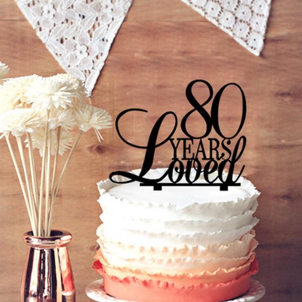 80thanniversary Caketopper Anniversary Birthday Gift