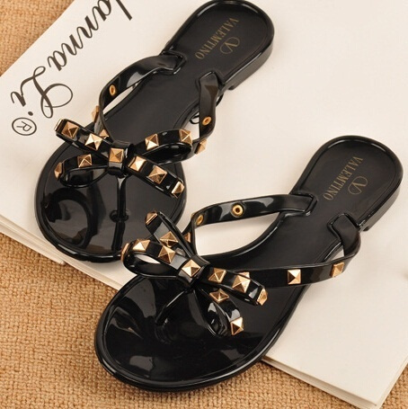 Picture of Brand Designer Valentine Shoes Rivetsbowknot Flat Slippers Girls Flip Flops Summer Shoes Cool Beach Jelly Shoes Sandals Women
