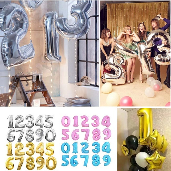 Picture of 30 Inch Number Balloons Birthday Wedding Party Happy New Year Decoration Dressed