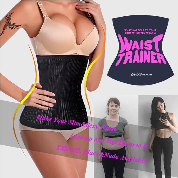 JOYMODE Christmas Gifts XXS-6XL Slimming Body Waist Tummy Trimmer Black 4  Steel Bone Women's summer breathable Waist Trainer Cincher Tummy Belt Sport