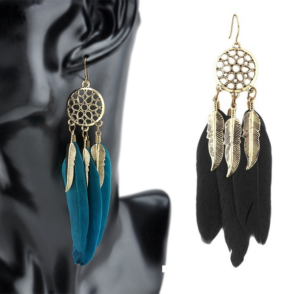 Vintage Dream Catcher Long Feather Drop Tibetan Earrings