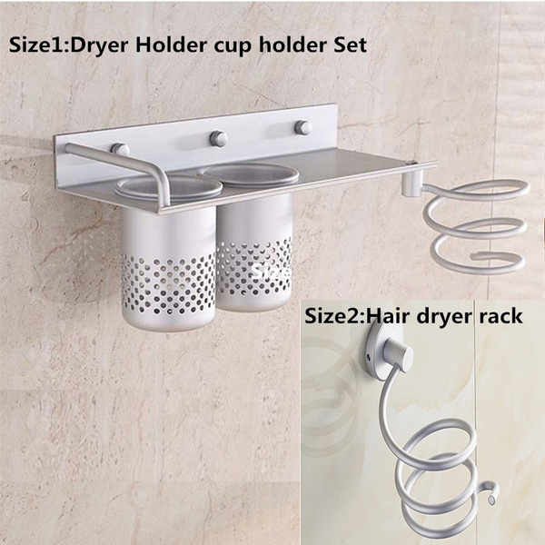 wish new hair dryer storage organizer rack comb holder wall mounted stand bathroom set