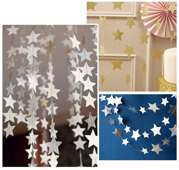 Picture of 4 M Romantic Colorful Stars Baby Paper Flowers Event Party Supplies Artificial Birthday Party Wedding Decoration-alc