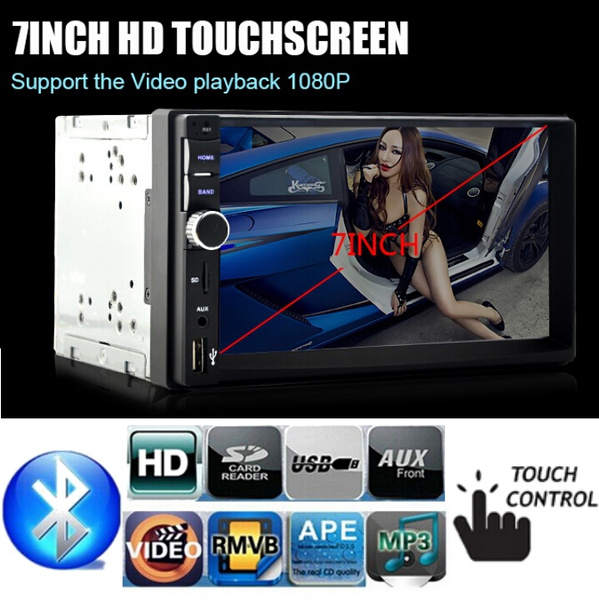Picture of 7'' Universal 2 Din 1080hd Bluetooth Car Radio Mp5 Player Car Radio Usb/tf/ Fm Aux Input Rear View Camera Input Size 12v Color Black