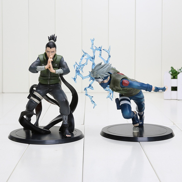 2 Pcs//Set Naruto Shikamaru Nara Kakashi Hatake PVC Action Figure Model Toy