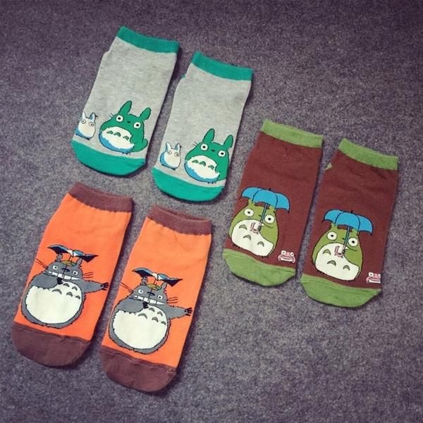Cute Cartoon Women Socks Totoro Pattern Beautiful Socks Breathable Cotton Comfortable Lady Socks