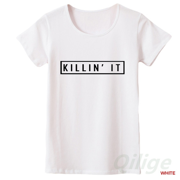 Summer New Black Tide Street Letter Print Size Short Sleeved Killing It Couple Cotton Shirt T-shirt