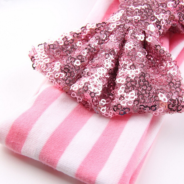 Sweet Baby Girls Infant Sequined Bow Headband Elastic Striped Hair Band Headwear moodwood