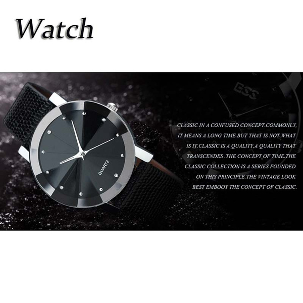 Luxury Men Quartz Sport Military Stainless Steel Dial Leather Band Wrist Watch