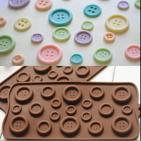 Picture of Diy Button Shaped Chocolate Fondant Mold Silicone Molds Mould Cake Decor Tool Chinese Kung Fu Shop Color Chocolate