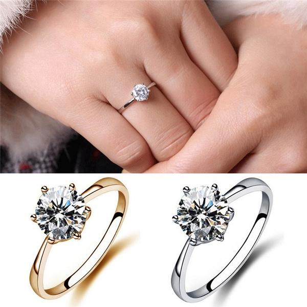 Wish Charm Clic Simulated Diamond Wedding Rings Luxury Crystal Finger Ring