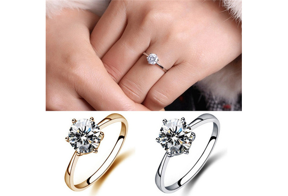 Charm Classic Simulated Diamond Wedding Rings Luxury Crystal Finger Ring