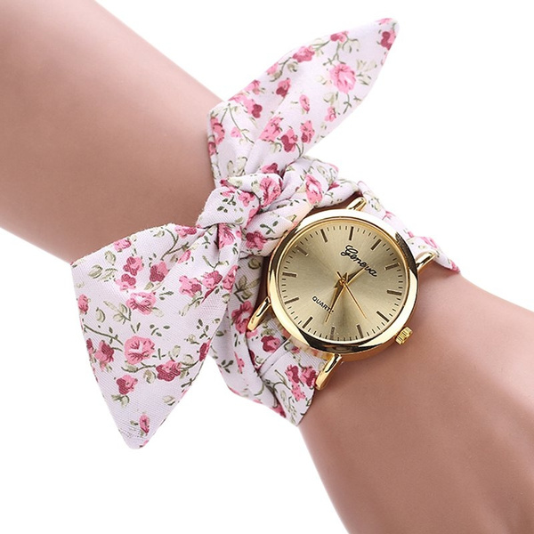New Style Watch New Design Ladies Flower Fbric Wrist Watch Fashion Women Dress Watch High Quality Sweet Relogio Feminino Girls Watch Fashion Watches Wish