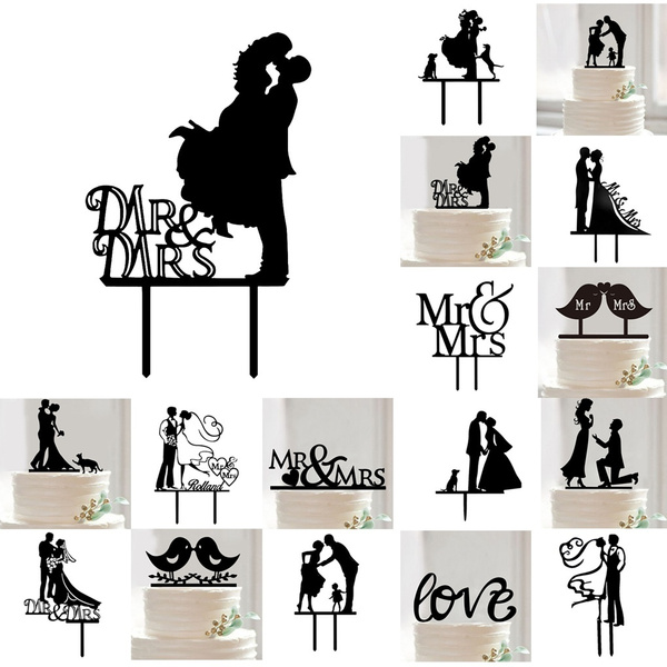 Picture of New Practical Dogs Mr Mrs Wedding Cake Toppers Personalized Wedding Party Cake Decorations