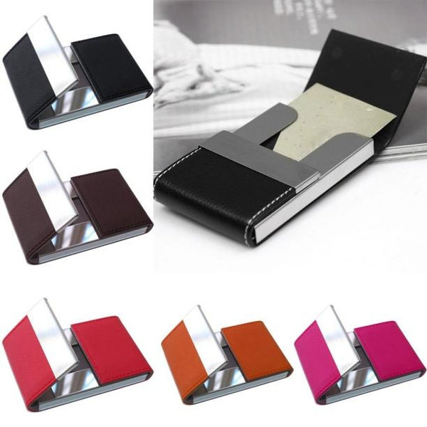 Picture of Fashion Men Women Credit Card Package Card Holder Double Open Business Card Case