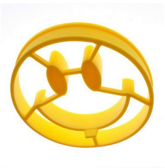 Funny Cute DIY Silicone Egg Mold Smiley Face Breakfast Mold Smile Shaped Pancakes Cooking Tools Kitchen Accessories Gadget (Color: Yellow)