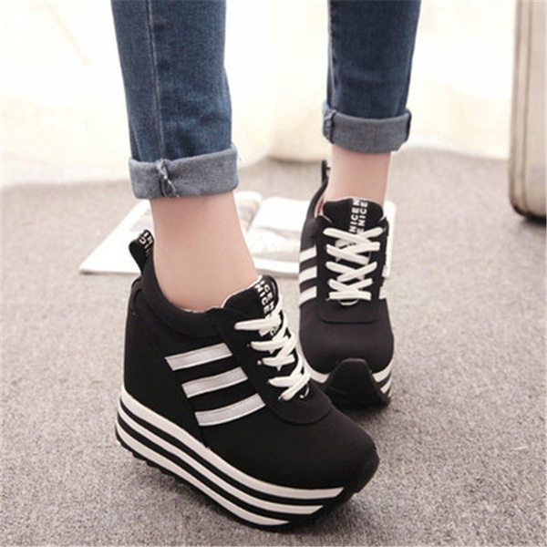 Picture of Women Lace Up High Platform Wedge Sneakers Heels Shoes