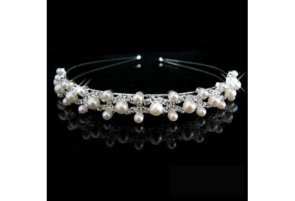 Wedding Party Bridal Bridesmaid Flower Girl Double Faux Pearl Crown Headband Tiara