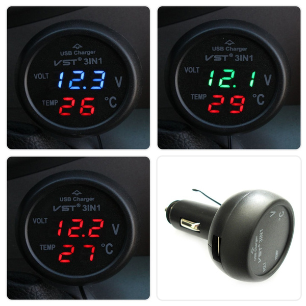 16d2bf7f3a8 3 in 1 Digital LED car Voltmeter Thermometer Auto Car USB Charger ...