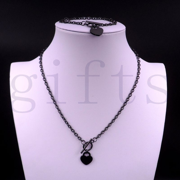 950e49d64c0 Women's Stainless Steel Heart Toggle Necklace bracelet chain set black charm