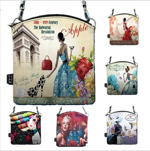 Picture of New Fingerprint Women Messenger Bag Vintage Small Crossbody Shoulder Bag Pockets