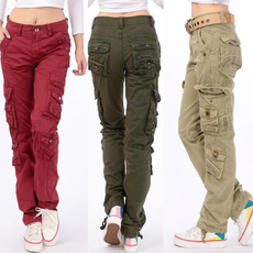Army, cottonsolidcolor, women trousers, Cargo pants