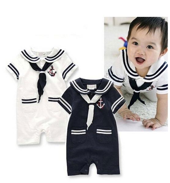 ecea81ce Baby Boy Toddler Sailor Suit Marine Navy Romper Onesie Outfit | Wish